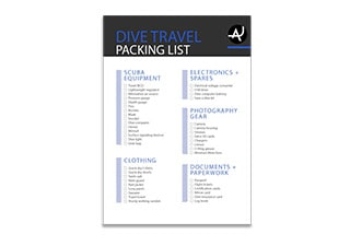 diving packing list