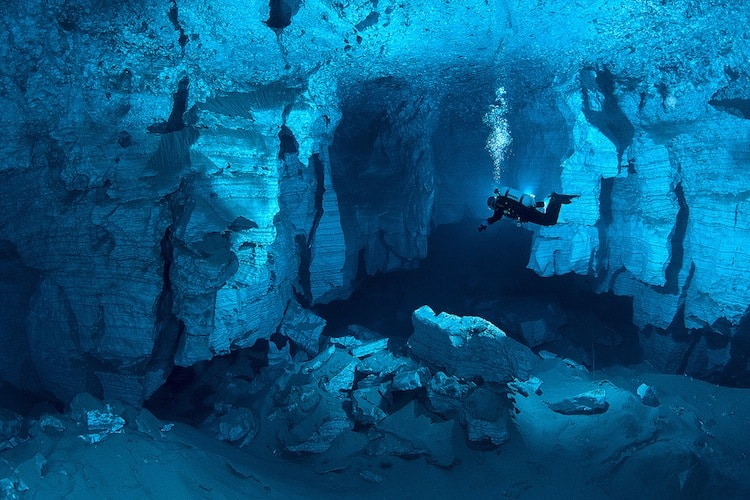 Diving Orda Cave, Russia