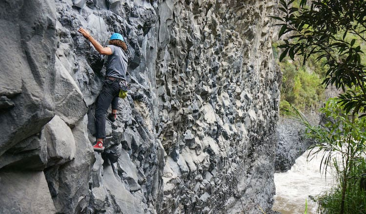 Rock Climbing Lava Cliffs in Baños, Ecuador