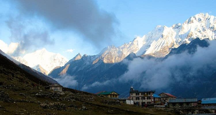 Mountain view and tea houses Langtang Trek