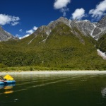 Inflatable Kayak in the Hollyford Sound, New Zealand