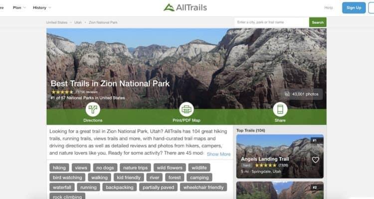 AllTrails.com Screenshot