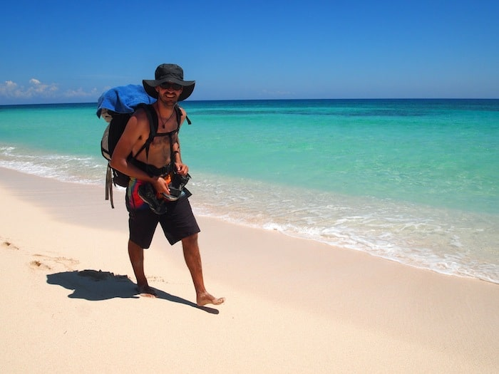 Hiking on the Beach to Punta Allen, Mexico.